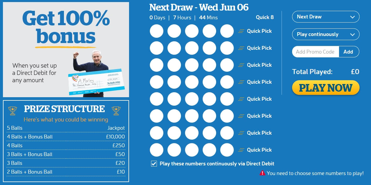 Health lottery quick picks prizes