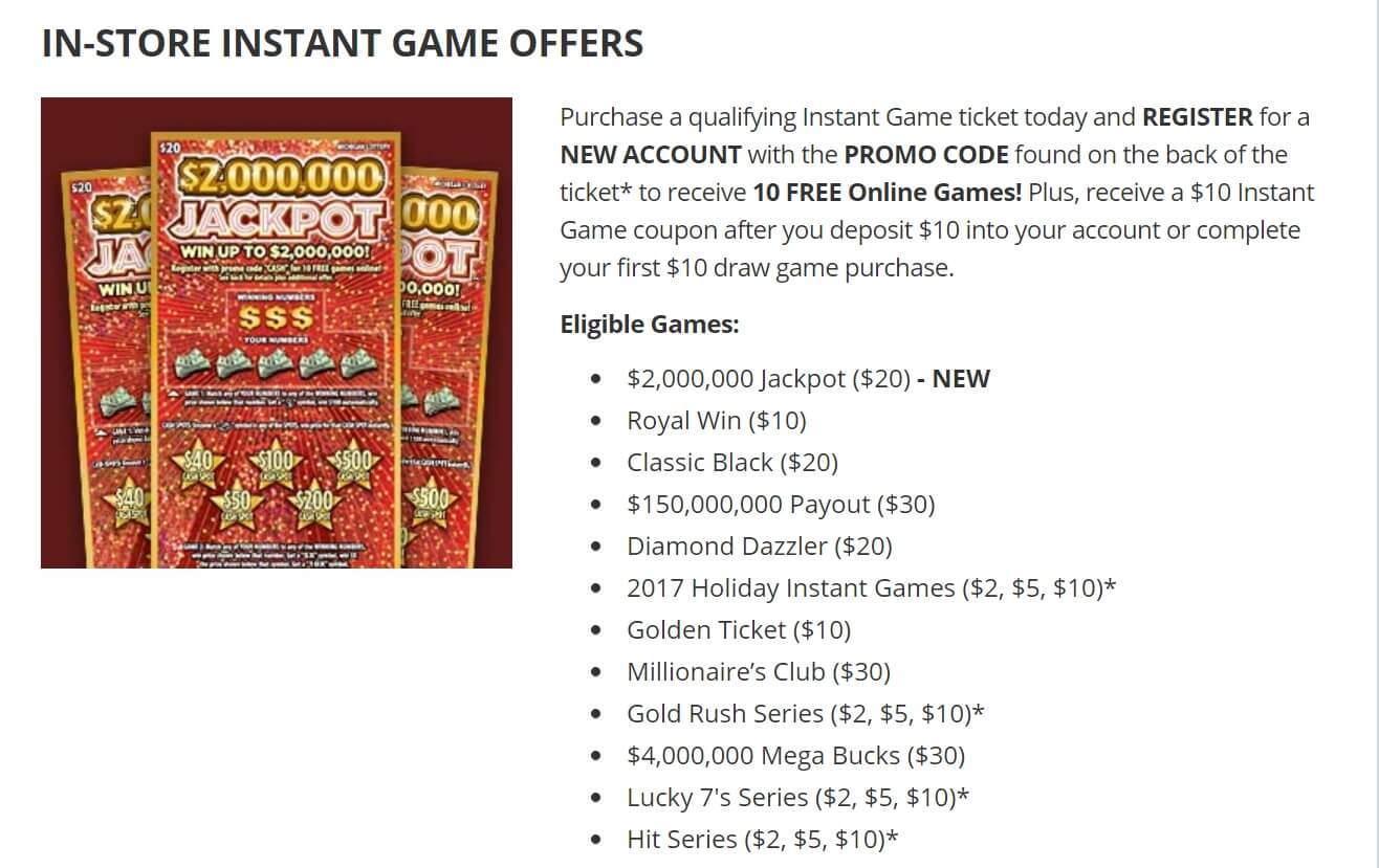 Michigan Lottery Instant Game Offer